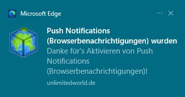 Push Notification auf dem Desktop