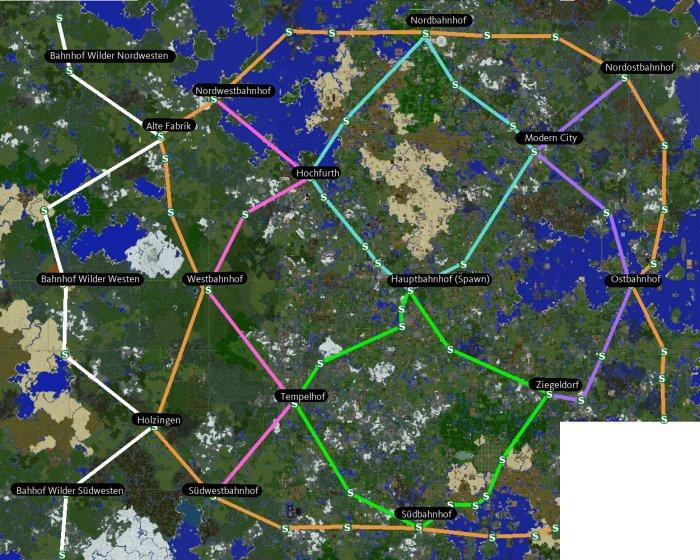 Streckenplan in der Zonenkarte